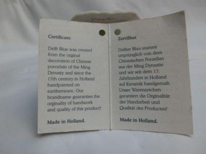 Vaas Huis Ten Halve Delfts, certificaat tekst